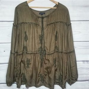 Lane Bryant Army Green Festival Top Size 18/20